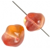 Glass Fancy Bead 10x13mm Orange/Yellow/Pink - Strung